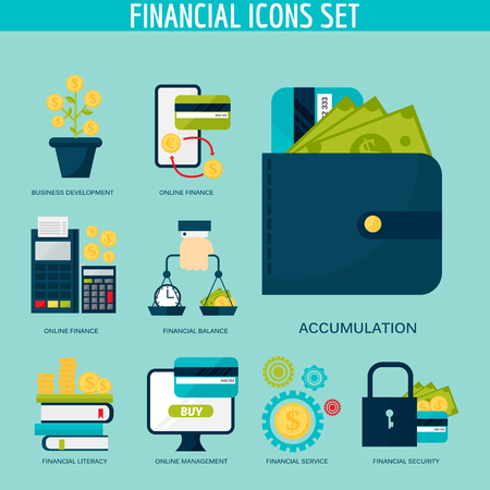 Banking money financial services set credit sign development online accumulation bank investment management finance vector illustration.  イラスト・ベクター素材