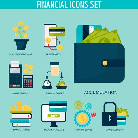 Banking money financial services set credit sign development online accumulation bank investment management finance vector illustration. 向量圖像