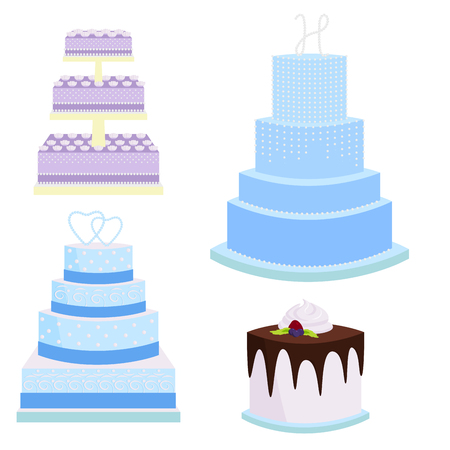 Wedding vector cake pie sweets dessert bakery flat simple style baked wedding-day food illustration.