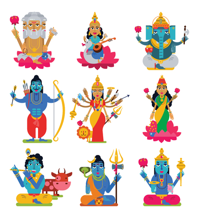 Indian god vector hindu godhead of goddess character and hinduism godlike idol Ganesha in India illustration set of asian godly religion isolated on white background Çizim