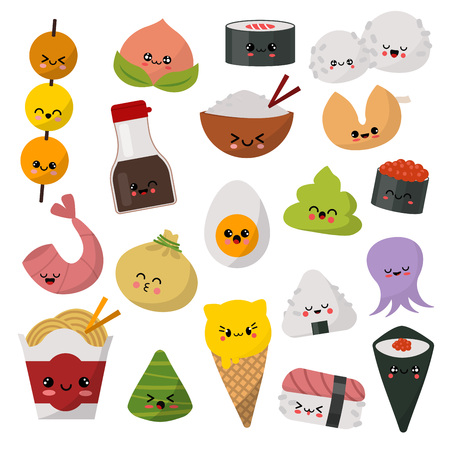 Kawaii food vector emoticon japanese sushi character and emoji sashimi roll with cartoon rice in Japan restaurant illustration asian cuisine set with facial emotions isolated on white background