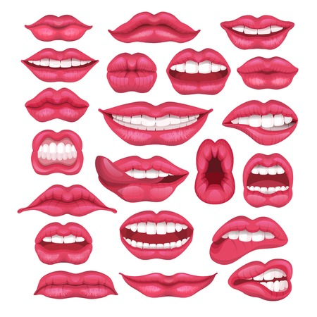 Lip vector cartoon beautiful red lips in kiss or smile and fashion lipstick and mouth kissing lovely on valentines day set illustration isolated on white background