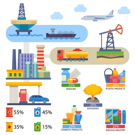 Oil industry vector oily products medicine or cosmetics and oiled technology producing fuel on infographic illustration set of industrial equipment isolated on white background Illustration