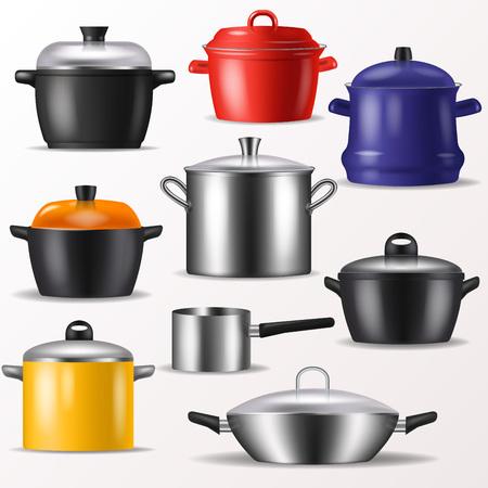 Pan vector das Küchengeschirr oder Kochgeschirr für das Kochen des Lebensmittel- und Küchengerätillustrationssatzes des Geschirrs und der Bratpfanne oder des Topfes, die auf weißem Hintergrund lokalisiert werden Standard-Bild - 99034039