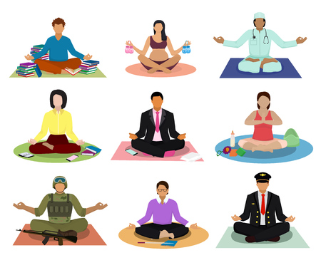 Set of meditating people.