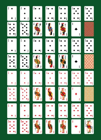 Playing-card vector playing cards for poker in casino illustration set of players gambling game signs king queen and jack isolated on background