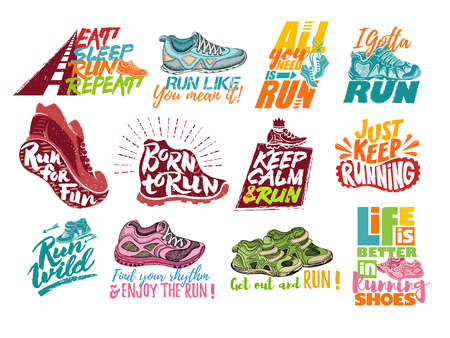 Set of running shoes with motivational quotes. Çizim
