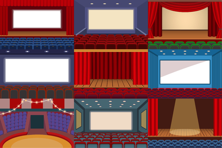 Theater vector theatre stage and theatrical opera performance illustration theatrically set of cinema interior and entertainment show with curtains isolated on white background Vectores
