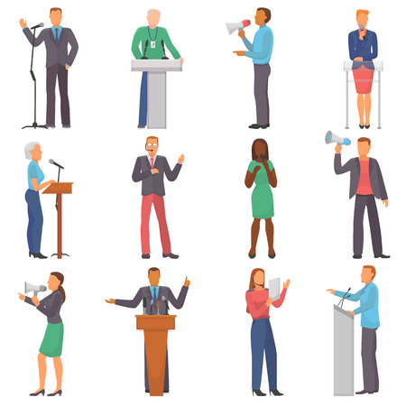 Speaker vector people characters speaking at business event or on conference presentation illustration set of man or woman has a speech on seminar isolated on white background