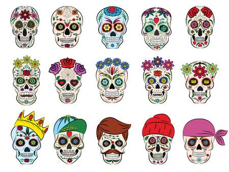 Cráneo vector cabeza muerta con flores mexicanas y huesos cruzados en flor y la ilustración del tatuaje humano conjunto de cráneo grueso símbolo de muerte o maldad en México aislado sobre fondo blanco Foto de archivo - 99442727