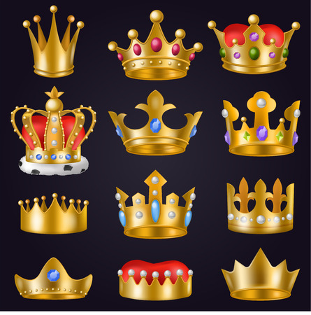 Crown vector golden royal jewelry symbol of king queen and princess illustration sign of crowning prince authority and crown jeweles set isolated on background Foto de archivo - 99442726