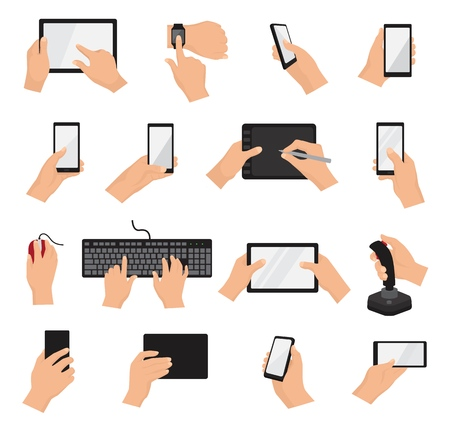 Hands with gadgets vector hand holding phone or tablet illustration set of character working on digital device with touchscreen smartphone or cellphone isolated on white background Illustration