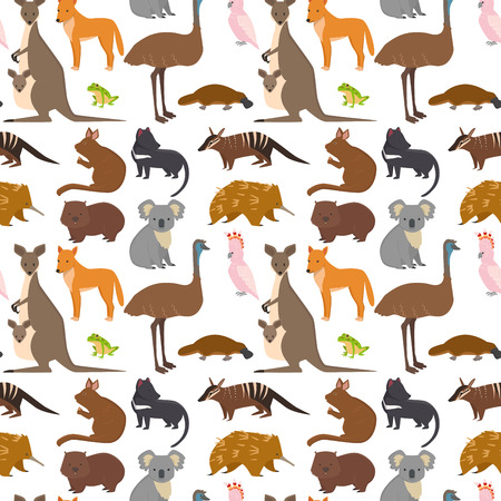 Australia wild animals cartoon popular nature characters flat style and australian mammal aussie native forest collection vector illustration. Natural seamless pattern background. Çizim