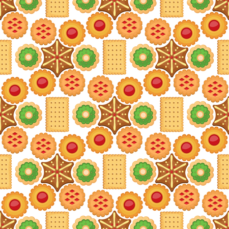 Different cookie cakes seamless pattern background sweet food tasty snack biscuit sweet dessert vector illustration. Cookie cartoon homemade confectionery food. Stock Vector - 99336295
