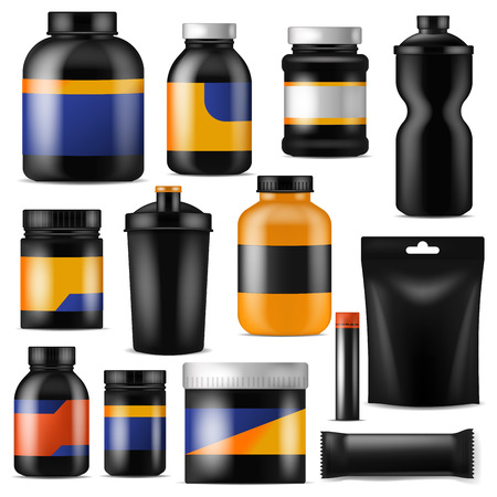 Bodybuilding nutrition vector branding fitness sport nutritional supplement with protein in branded bottle for bodybuilders illustration set isolated on white background Illusztráció