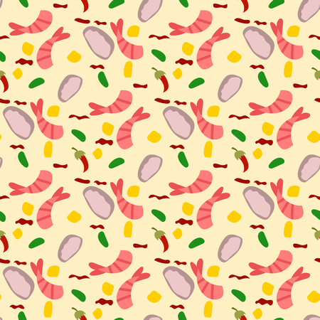 Traditional thai food asian cuisine thailand seafood prawn seamless pattern background cooking delicious vector illustration.