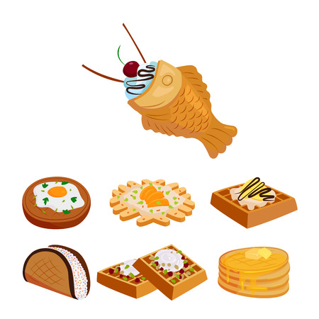 Different wafer cookies waffle cakes pastry cookie biscuit delicious snack cream dessert crispy bakery food vector illustration