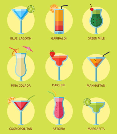 Set of alcoholic cocktails fruit cold drinks tropical cosmopolitan freshness collection and party alcohol sweet tequila vector illustration. Juice with refreshment rum restaurant beverage. 向量圖像