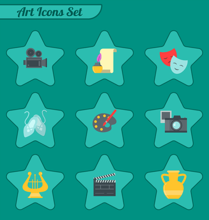 Set of art icons in flat design vector illustration. Camera picture brush palette entertainment symbols. Artist ink graphic color creativity movie collection.