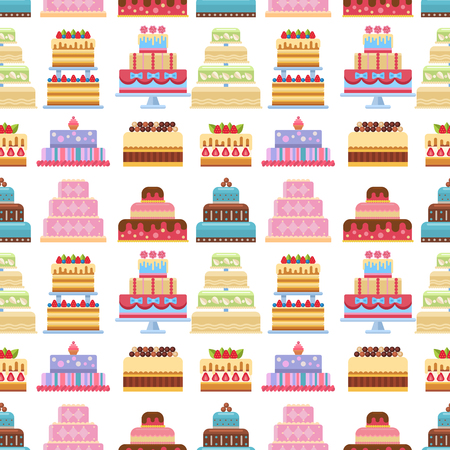 Collection of various cakes on white background. Fresh tasty dessert sweet pastry pie. Gourmet homemade delicious cream traditional bakery tart seamless pattern background