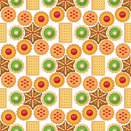 Different cookie cakes seamless pattern background sweet food tasty snack biscuit sweet dessert vector illustration. Cookie cartoon homemade confectionery food. 向量圖像