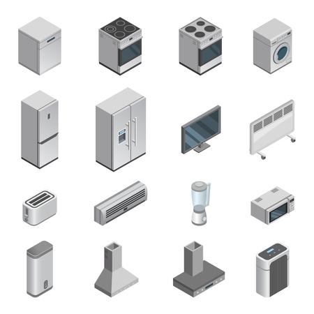 家のセット調理器具や洗濯機、電子レンジのための家電製品ベクターキッチン家電は、白い背景に隔離されたハウスキーピング機器の家電店のアイ