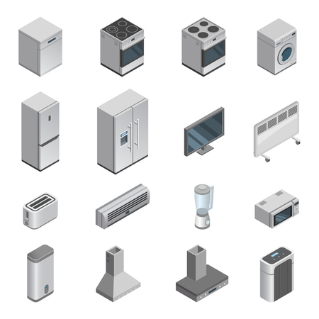 Household appliances vector kitchen homeappliance for house set cooker or washing machine and microwave in appliancestore isometric illustration of housekeeping equipment isolated on white background