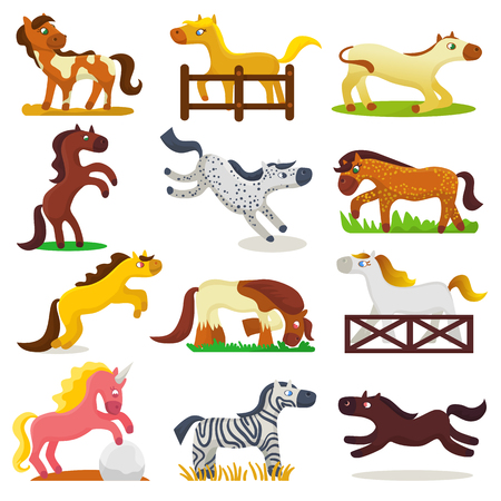 Cartoon horse vector cute animal of horse-breeding or kids equestrian and horsey or equine stallion illustration childly animalistic horsy set of pony zebra character isolated on background