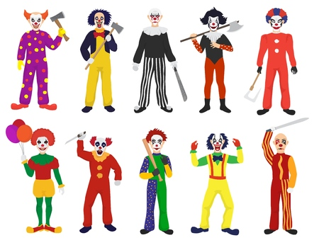 Clown vector clownish character clowning on performance in circus and cartoon man of clown illustration set of performers with scary or creepy expressions isolated on white background.