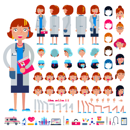 Doctor constructor vector construction of female medical character head and face emotions illustration set of hospital person body with hands legs creation isolated on white background. Archivio Fotografico - 99454531