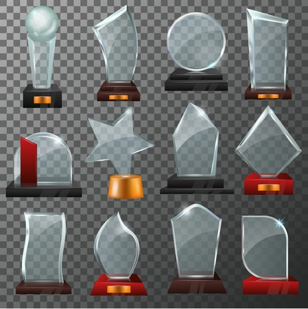 Glass award vector crystal trophy or award-winning prize for achievement illustration set of winner shiny reward template or blank isolated on transparent background 일러스트