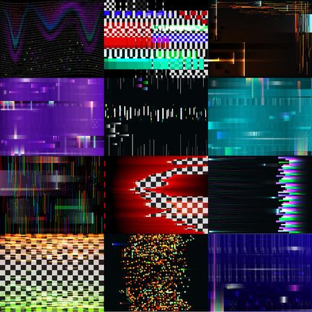 글리치 배경 벡터 글리치 시끄러운 pixelated 텍스처 패턴 tv 깨진 컴퓨터 화면 소음 또는 추상 pixelation 질감 배경 그림 설정 벽지 일러스트