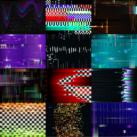 Glitch background vector glitchy noisy pixelated texture pattern tv broken computer screen with noise or abstract pixelation textured backdrop illustration set wallpaper