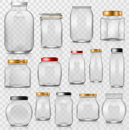 Glass jar vector empty mason glassware with lid or cover for canning and preserving illustration glassful set of container or cuppingglass isolated on transparent background Vettoriali