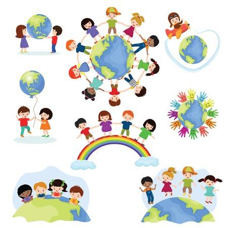 Świat dzieci wektor szczęśliwe dzieci na planecie ziemia w pokoju i na całym świecie ilustracja ziemskiej przyjaźni pokojowy dziecinny zestaw chłopców i dziewcząt razem na białym tle
