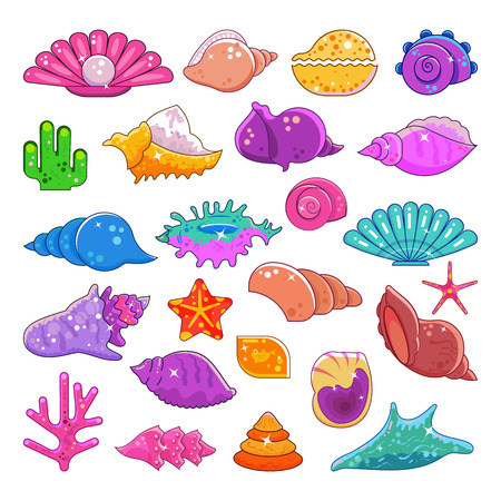 Collection of sea corals in cartoon illustration.