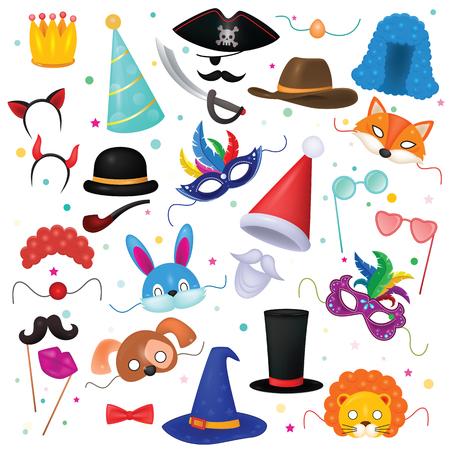 어린이 가장 무도회 파티와 만화 동물 마스크 마스크 벡터 어린이 카니발 의상 모자 마스크 된 어린이 생일 모자 흰색 배경에 고립 된 모자 세트 일러스트