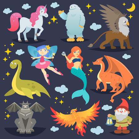 Mythological animal vector mythical creature phoenix or fantasy fairy and characters of mythology mermaid or unicorn and griffin illustration set of cartoon beasts isolated on background Imagens - 99630603