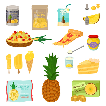 Set of pineapple slices isolated on white background. Vector illustration for decorative poster, emblem natural product. Concept for farmers market. Perfect for packaging design of cosmetics and food
