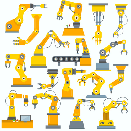 Robot arm vector robotic machine hand indusrial equipment in manufacture illustration set of engineer character of robotechnic in industry isolated on white background.