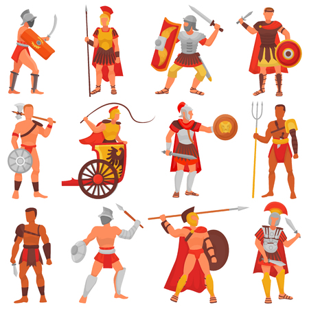 Gladiator vector guerrero romano personaje en armadura con espada o arma y escudo en la antigua Roma ilustración conjunto de hombre griego warrio luchando en la guerra aislado sobre fondo blanco. Ilustración de vector