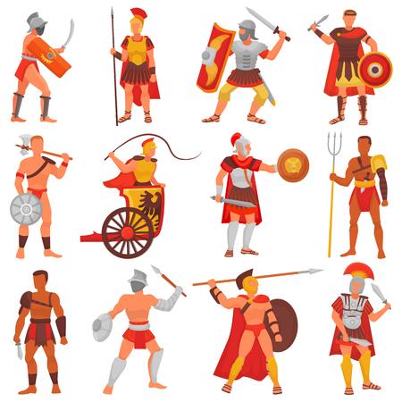 Römischer Kriegercharakter des Gladiatorvektors in der Rüstung mit Klinge oder Waffe und Schild im alten Rom-Illustrationssatz des griechischen Mannes warrio kämpfend im Krieg lokalisiert auf weißem Hintergrund Vektorgrafik