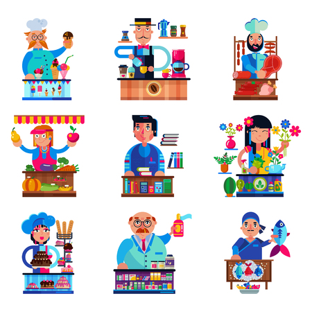 Seller vector salesman character selling in bookshop candyshop or coffeeshop and butcher or baker in stall illustration set of people sale in grocery or confectionery isolated on white background