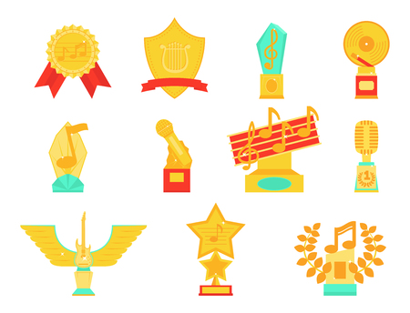 Music award statuette microphone and notes entertainment winner top artist achievement music note prize illustration.