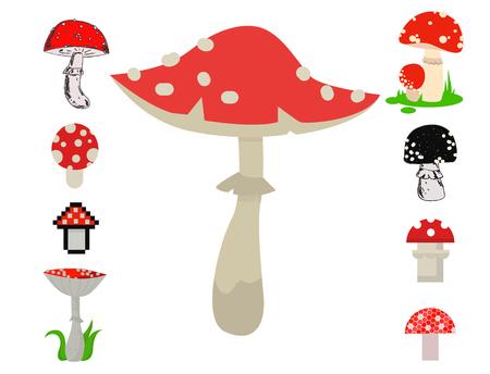 アマニタキノコのスタイルは、ベクトル有毒な季節有毒な真菌食品漫画ムスカリア、ヒキガエルの背景を設定します。危険な植物は真菌の森のイラ
