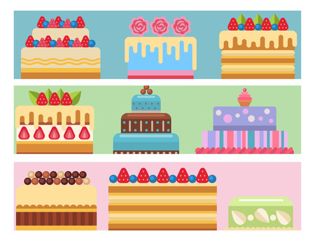 Wedding cake pie sweets cards dessert bakery flat simple style isolated illustration. Stock Illustratie