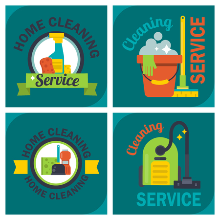 Cleaning service emblems labels and design elements home household symbol work brush illustration.