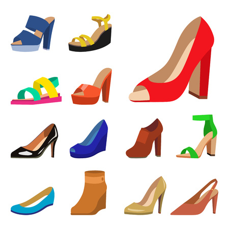 Womens shoes vector flat fashion design collection of leather colored moccasins shoes sandals illustration
