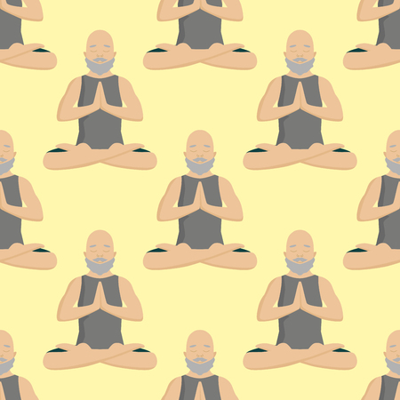 Yoga positions mans characters class meditation seamless pattern background. Male concentration human peace lifestyle vector illustration.