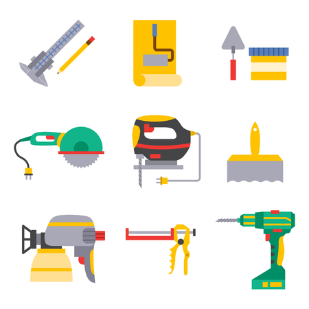 Construction vector worker equipment, house renovation, handyman tools, carpentry industry illustration.